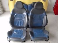 BMW MINI ONE COOPER S BLACK AND BLUE LEATHER SEATS