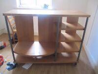 Large wheeled shelf unit and storage Cabinet and television