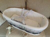 Mothercare Ombre Moses Basket - Grey, 50% off (incl. mattress, dressing, fitted sheet and coverlet)