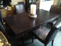 Jaccabean wood dining table and 4 chairs