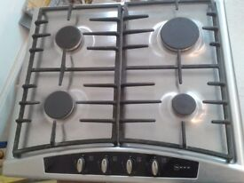 NEFF STAINLESS STEEL GAS HOB T2346N1 60cm WITH CAST IRON PAN STANDS £35