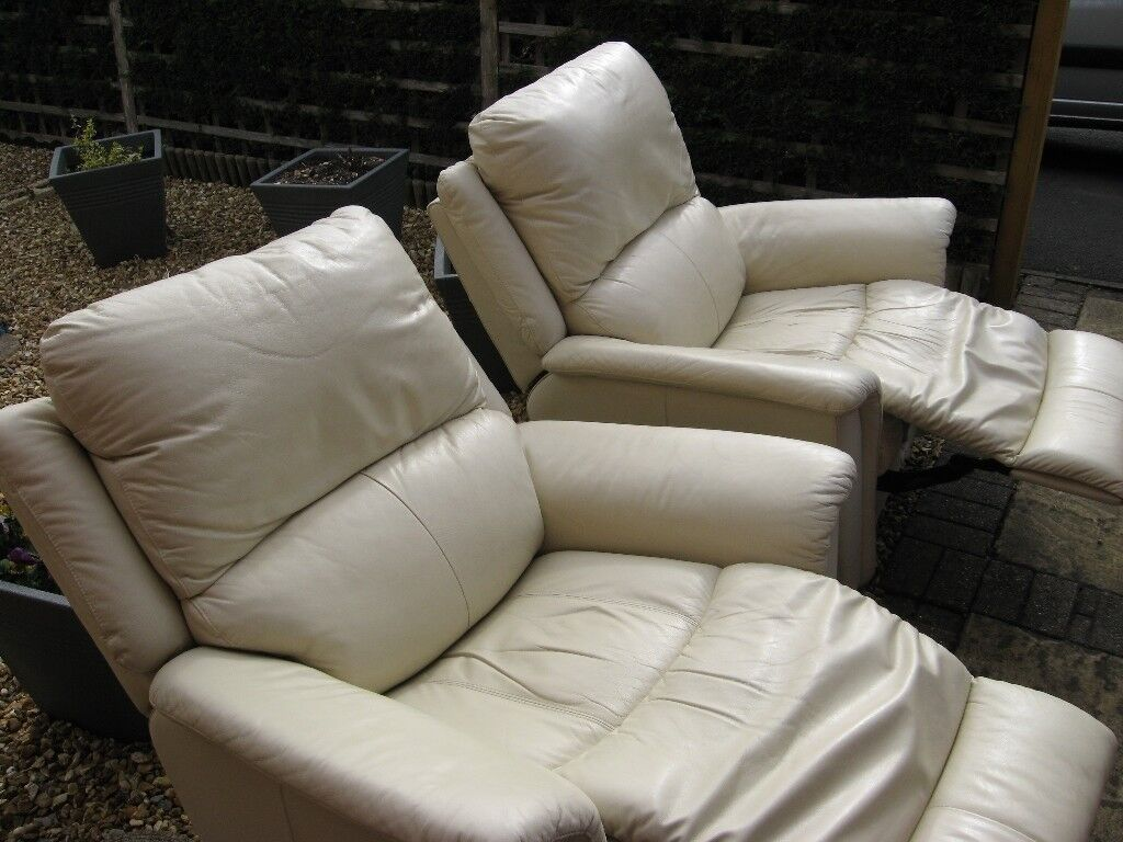 Outstanding 2X Genuine La Z Boy Cream Leather Recliner Chairs Lazy Boy Pair Of In Rugeley Staffordshire Gumtree Machost Co Dining Chair Design Ideas Machostcouk