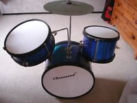Drums burswood 3 peice set , very good condition, blue in colour