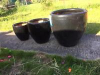 Stunning black terracotta garden plant pots x3