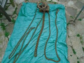 Vintage Herbert Morris Loughborough 1 1/2 Tonne Block Tackle Chain Hoist Salvage