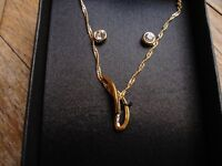 Brand New Marks & Spencer Necklace & Earrings---gold plated