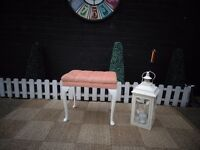 BEAUTIFUL OLD PINK VELVET DRESSING TABLE STOOL WITH QUEEN LEGS VERY SOLID