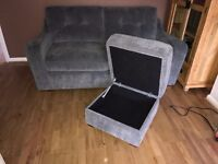 Three seater sofa with matching storage foot stool