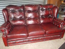 Vintage Oxblood Leather Chesterfield 3-2-1 Suite