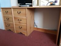 Pine effect drawers and desk