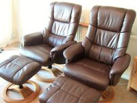2 Recliner chairs & footstools