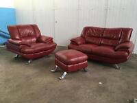 Red sofa,couch,,,2 seater ,,1 seater and foot stool (CAN DELIVER)