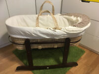 Moses Basket and Walnut Rocking stand