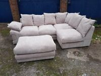 Really nice BRAND NEW mink fabric corner sofa and footstool,good quality ,can deliver