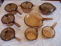 vintage vision corningware pyrex amber cookware