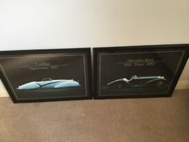 These are two matching pictures with a black background and black frames