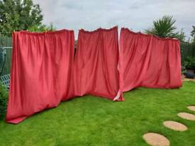 Wine colour slub satin effect lined curtains 90x90..2 pairs with tie backs