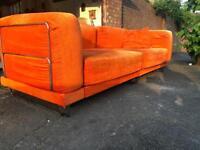 Vintage retro style orange sofa bed chrome stainless steel leg frame