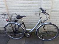 ladies reflex classic aluminium hybrid bike, basket, new lights, d-lock ready to ride free delivery