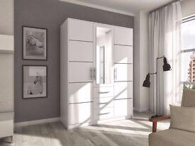 New Modern Wardrobe BALI 3D *WHITE / MIRROR * Bedroom Furniture
