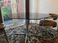 Glass steel tube Bauhaus style table