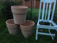 Terracotta garden plant pots x 3