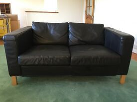 Ikea 2 seater sofa in black leather