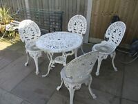 Cast aluminium garden table and 4 chairs garden furniture vintage shabby chic