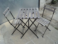 Ikea TARNO Bistro style fold up table and 2 chairs, Garden, Patio, used,