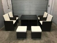 FREE DELIVERY BROWN GARDEN RATTAN CUBE, GLASS TOP TABLE, 4 CHAIRS & 4 STOOLS GREAT CONDITION