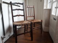 6 Wooden and rafia dining chairs