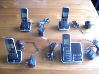 BT INSPIRE QUAD DIGITAL HOME PHONE SET with ANSWER PHONE, BASE STATION PLUS 3 OTHER STATIONS