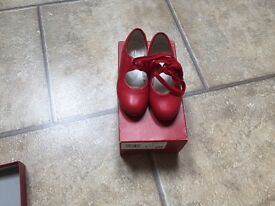 Girls red tap shoes size 9.5