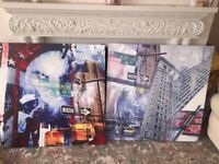 Two Large Canvas Pictures Avenue of Americas New York 6th Ave NY America