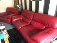 Large Red leather suite and chair from Reid's