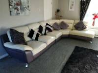 Leather cream corner sofa and puffa