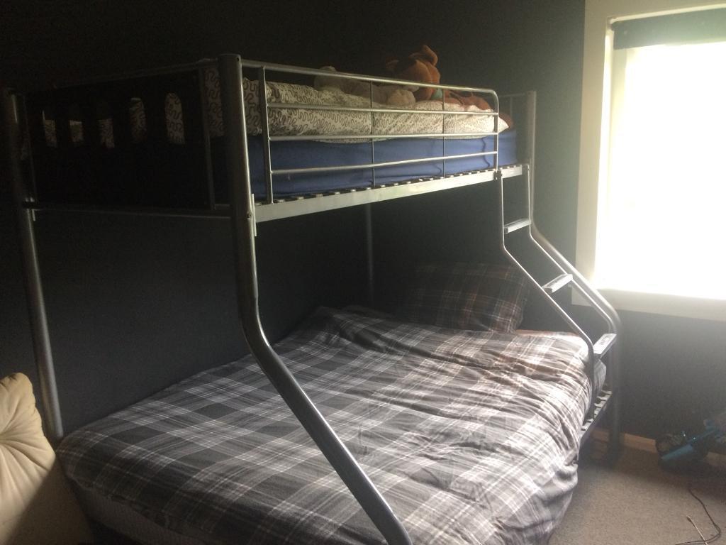 Silver Black Sturdy Metal Double Single Triple High Sleeper Bunk Bed