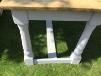 Country kitchen table pine top grey legs 48x30 inches