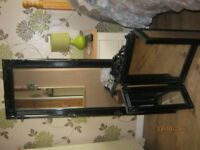 Full length and matching triple folding dressing table mirror in black.