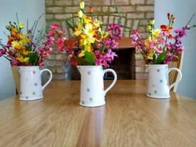 3 Ceramic Flower Filled Jugs
