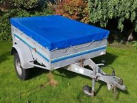 Camping Trailer 105cm x 150cm x 40cm Tipping bed with Drop down tailgate and loading ramp extension