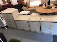 Set of 4 x chest of drawers light wood colour with white