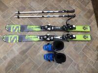 Childs / Kids Ski Package Skis (Salomon 120), Ski Boots (Lange RSJ 60 – 20.5 UK 1) & Poles (90cm)