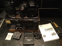 Nikon D3400 mint as new box and all accessories. built in Bluetooth