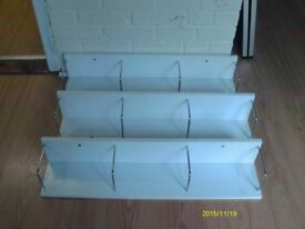 Three white gloss CD / DVD / Book shelves Very good condition Ready to collect