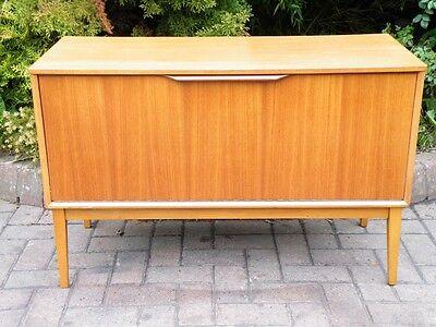 Mid Century Modern Teak Danish 1960's Compact Record Cabinet / Credenza