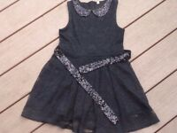 M&S girls lace party dress, black with glitter sequin belt and collar, age 5-6 yrs.
