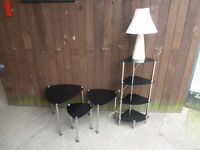 Black Glass Nest Of Table And Corner Unit Delivery available