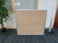3 Drawer Elan Maple Effect Silver Trim Office Storage Cabinet Cupboard