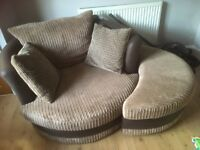 Chair with footstool and 3 seater sofa